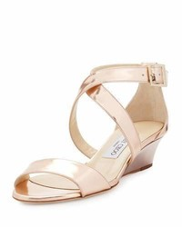 Chiara mirrored crisscross wedge sandal rose gold medium 1194900
