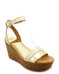Coach Caitlyn Gold Open Toe Leather Wedge Sandals Shoes