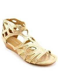 Donald J Pliner Delite Gold Open Toe Leather Wedge Sandals Shoes