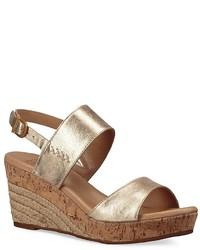 UGG Elena Metallic Leather Wedge Sandal
