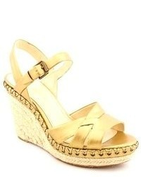 Enzo Angiolini Eagreyti Gold Leather Wedge Sandals Shoes