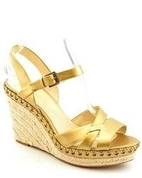 Enzo Angiolini Greyti Gold Faux Leather Wedge Sandals Shoes Uk 7
