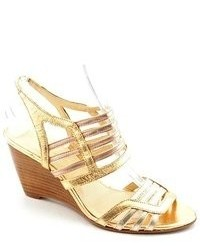 Enzo Angiolini Hobson Gold Open Toe Leather Wedge Sandals Shoes