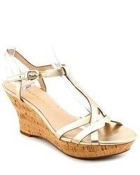 Franco Sarto Notice Gold Faux Leather Wedge Sandals Shoes