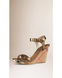 Burberry House Check And Metallic Leather Wedge Sandals