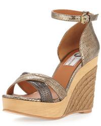 Lanvin Metallic Espadrille Wedge Sandal Gold