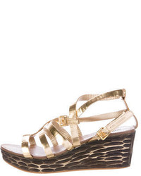 Miu Miu Metallic Wedge Sandals