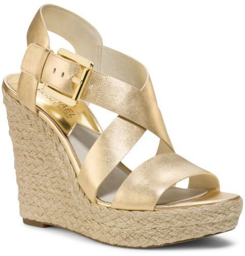 10d6aba9610 $135, Michael Kors Michl Kors Giovanna Metallic Leather Espadrille Wedge