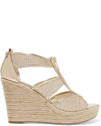 MICHAEL Michael Kors Michl Michl Kors Damita Glittered Leather Espadrille Wedge Sandals