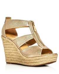 MICHAEL Michael Kors Michl Michl Kors Damita Metallic Caged Espadrille Wedge Sandals