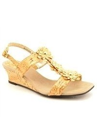 Ros Hommerson Danger Gold Wide Leather Wedge Sandals Shoes