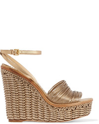 Moschino Sold Out Woven Metallic Leather Wedge Sandals
