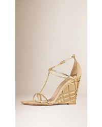 Burberry T Bar Metallic Leather Wedge Sandals