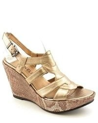 VANELi Emberly Gold Narrow Open Toe Leather Wedge Sandals Shoes