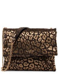 Lanvin Animal Print Sugar Sheepskin Shoulder Bag Gold