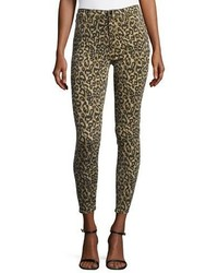 J Brand Alana High Rise Skinny Ankle Jeans Gold Leopard