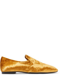 The Row Alys Velvet Loafers Gold