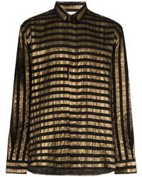 Saint Laurent Lam Stripe Long Sleeved Shirt