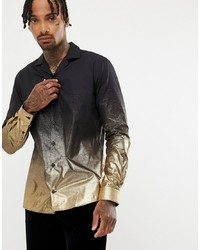Twisted Tailor Revere Collar Shirt With Gold Metallic Fade