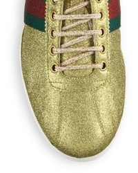 b63128a06 Gucci Bambi Web Gold Stud Low Top Sneakers, $695 | Saks Fifth Avenue ...