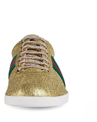 ec40e94f6 Gucci Bambi Web Low Top Sneaker With Stud Detail Gold, $695 | Neiman ...
