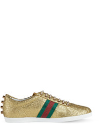 7aef054c Gucci Bambi Web Low Top Sneaker With Stud Detail Gold, $695 | Neiman ...
