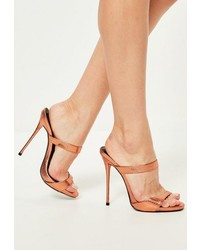 Missguided Bronze Barely There Heeled Mules