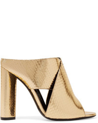 Tom Ford Metallic Ayers Mules Gold
