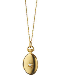 Monica Rich Kosann 18k Gold Petite Oval Locket Necklace With Diamond Star 17l
