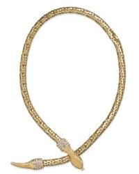 ABS by Allen Schwartz Necklace Gold Tone Crystal Snake Collar Necklace