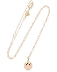 Alison Lou Small Bashful Enameled 14 Karat Gold Necklace One Size