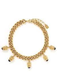Ela Stone Arie Lion Head Curb Chain Collar Necklace