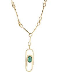 Aurelie Bidermann Aurlie Bidermann Angelica 18kt Gold Plated Necklace With Turquoise