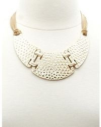 Charlotte Russe Paneled Hammered Gold Collar Necklace
