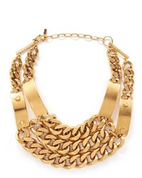 Ela Stone Heidi Metal Plate Chunky Chain Plastron Necklace
