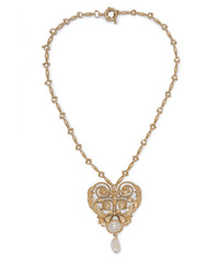 Etro Gold Tone Crystal And Faux Pearl Necklace