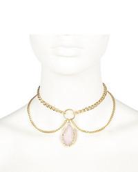 River Island Gold Tone Pendant Drop Choker Necklace