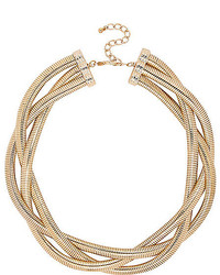 River Island Gold Tone Twisted Chain Statet Necklace