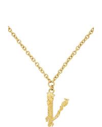 Versace Gold V Leaves Necklace
