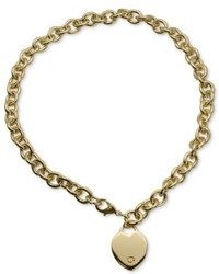 Guess Necklace Gold Tone Heart Pendant Necklace