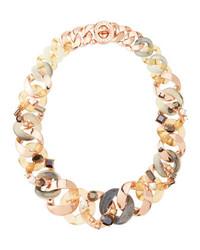 Marc by Marc Jacobs Katie Embellished Metal Turnlock Necklace Rose Golden