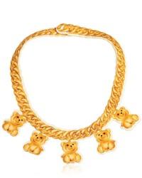 Moschino Teddy Bear Chain Print Neoprene Necklace