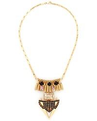 Nobrand Multi Crystal Metal Plastron Necklace
