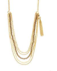 Saks Fifth Avenue Multi Strand Chain Bead Tassel Necklace