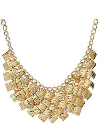 Style&co. Necklace Gold Tone Textured Statet Necklace