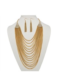 PalmBeachJewelry.com 2 Piece Multi Chain Jewelry Necklace Earrings Set