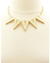 Charlotte Russe Rhinestone Lucite Triangle Statet Necklace