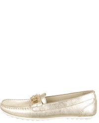 Moschino Girls Metallic Logo Embellished Loafers W Tags