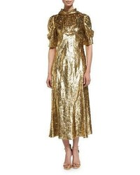 Michael Kors Michl Kors Half Sleeve Metallic Paisley Midi Dress Gold