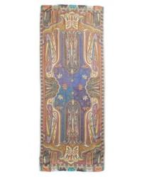 Etro Shimmer Paisley Linen Silk Scarf